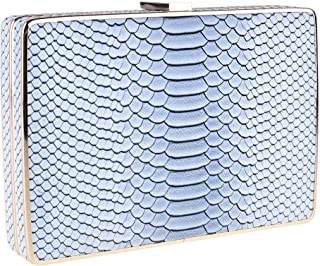 Exclusive Woman Zapals Box Clutch Evening Shoulder Bag Snake Skin LIGHT GREY