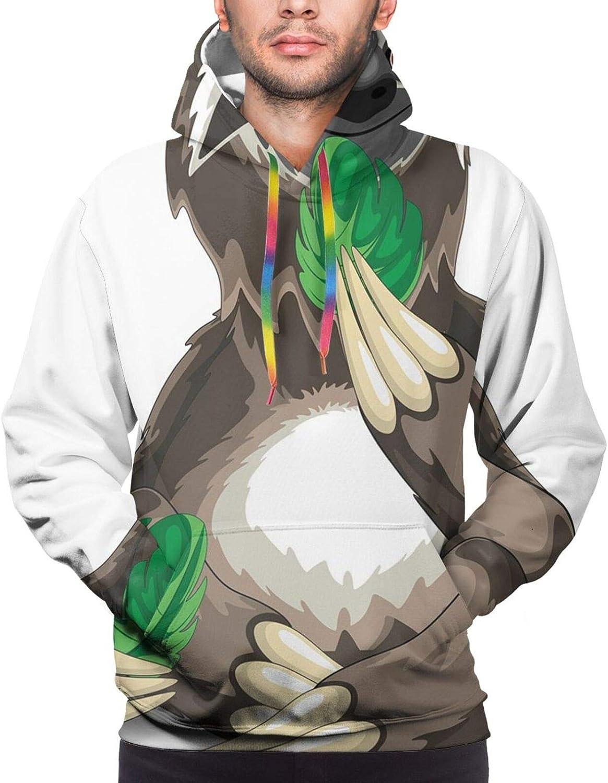 Men's Hoodies Sweatshirts,Sloth in Underwater Illustration Oceanic Tropical Wildlife Habitat Fauna