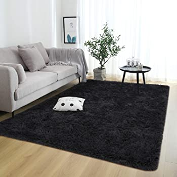 Rostyle Super Soft Fluffy Area Rugs for Bedroom Living Room Shaggy Floor Carpets Shag Christmas Rug for Girls Boys Furry Home Decorative Rugs, 4 ft x 6 ft, Black