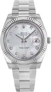 mens rolex datejust mother of pearl diamond dial