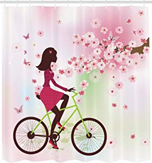 """Ambesonne Feminine Shower Curtain, Girl on Bike Passing by Cherry Trees Blooms Spring Nature Seasonal Illustration, Cloth Fabric Bathroom Decor Set with Hooks, 84"""" Extra Long, Green Pink"""