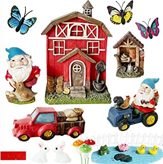 Miniature Gnome Garden Kit Accessories- Small Red Barn Farm Gnome Figurines Statue Set for Outdoor Fairy Garden Decor with...