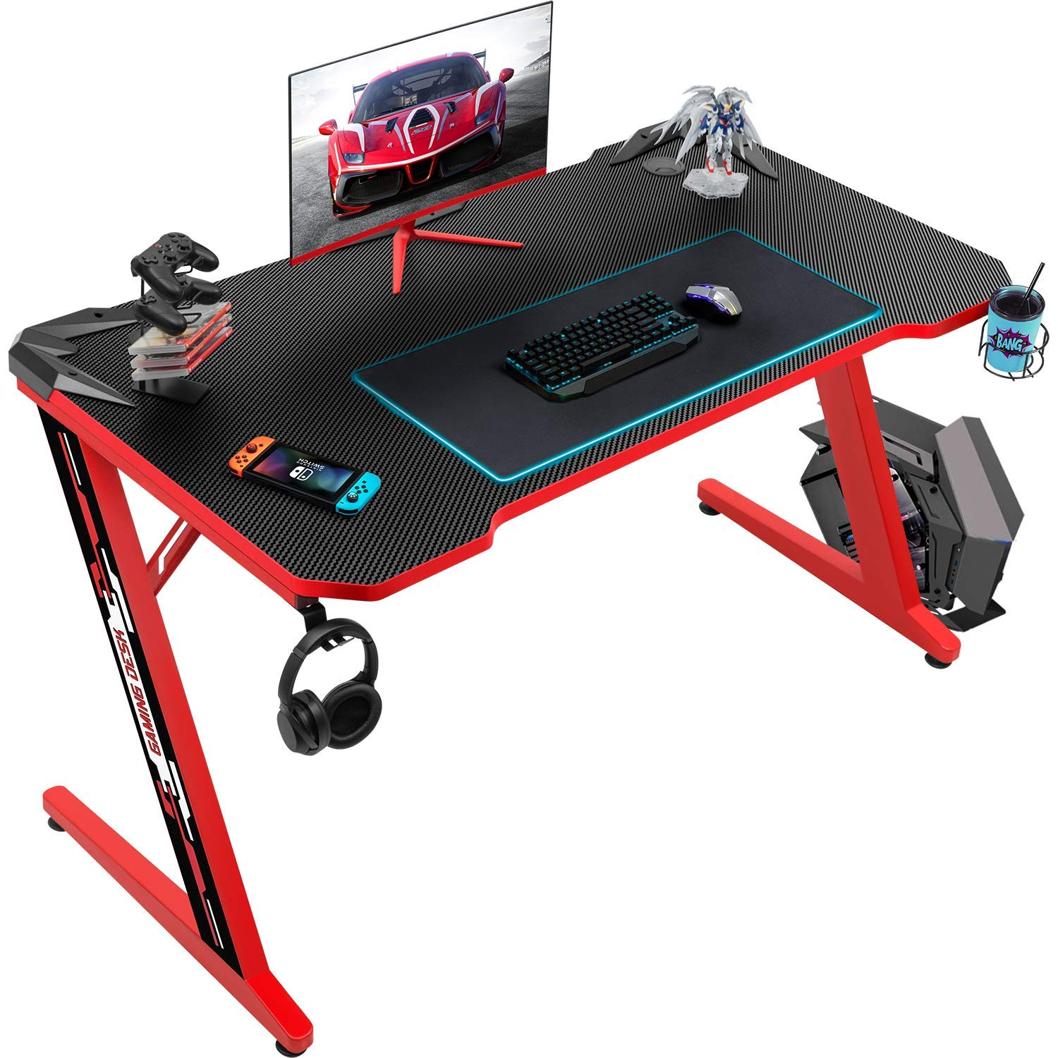 Flamaker Gaming Desk Gaming Table Computer Desk Gamer Table Z Shape Game Station with Large Carbon Fiber Surface, Cup Holder & Headphone : Amazon.in: Computers & Accessories