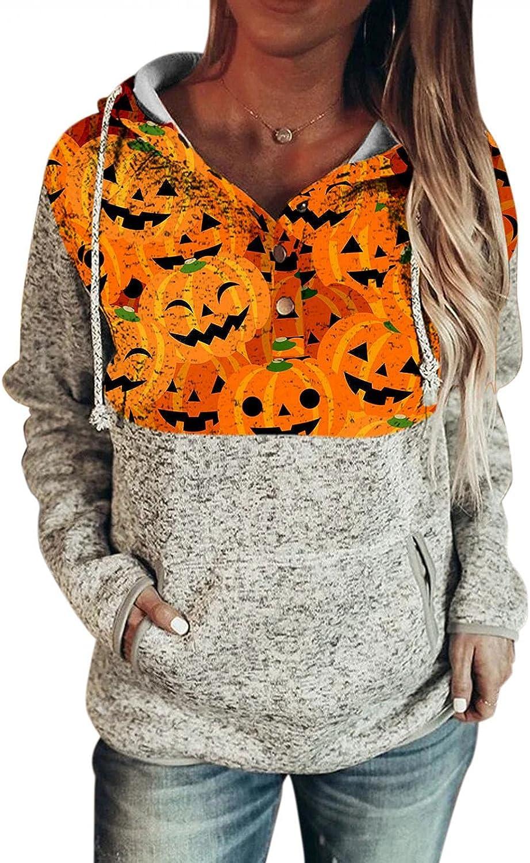 AODONG Women's Lightweight Halloween Print Hoodies Sweaters Drawstring Pullover Button Long Sleeve Loose Sweatshirts