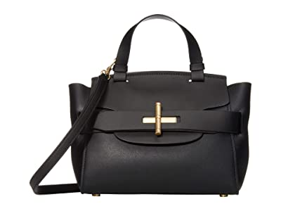 ZAC Zac Posen Brigette Belted Satchel Solid (Black) Handbags