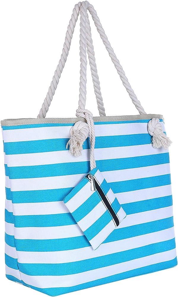 Dondon borsa da spiaggia grande con chiusura zip per donna in materiale idrorepellente BBAG46