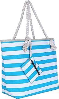Große Strandtasche mit Reißverschluss 58 x 38 x 18 cm Maritime Streifen türkis weiß Shopper Schultertasche Beach Bag