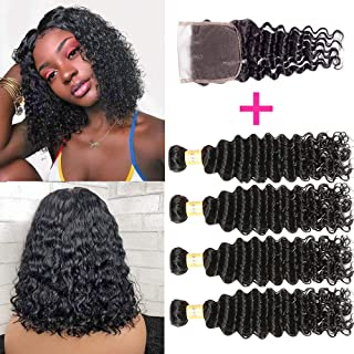 Brazilian Deep Wave Bundles With Closure 100% Virgin Human Hair 4 Bundles With Closure Free Part Unprocessed Short Bob Curly Hair Bundles With Closure Natural Black Color (10 10 10 10 with 8)