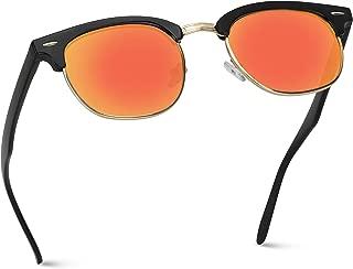 WearMe Pro - Half Frame Retro Semi-Rimless Style Sunglasses Retro Mirror Lens Sunglasses