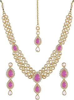 Aheli Wedding Wear Indian Kundan Maang Tikka Earrings Necklace Set Bollywood Ethnic Traditional Jewelry for Women