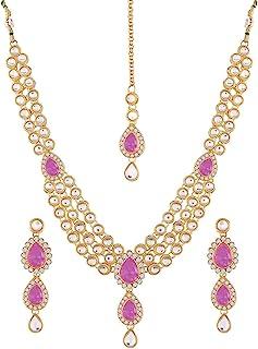 Aheli Wedding Wear Indian Kundan Maang Tikka Necklace Set Bollywood Original Jewelry التقليدية للنساء