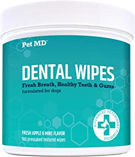 Pet MD Dog Breath Freshener Dental Wipes for Dogs - Tartar and Plaque Remover for Teeth Cleaning - Fresh Apple & Mint Scen...