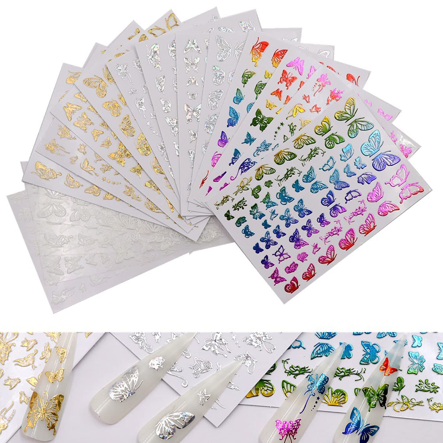 16 Sheets Butterfly Nail Art Stickers Max 73% OFF Selling and selling Laser Gold with Color