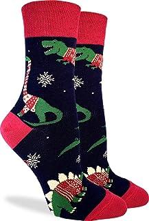 Good Luck Sock Women's Christmas Sweater Dinosaur Socks - Blue, Shoe Size 5-9