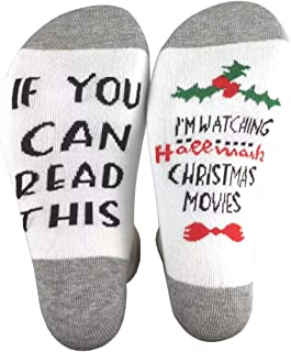 Christmas Socks, If You Can Read This socks Unisex Novelty Cotton Crew Socks Xmas Gifts for Women Men