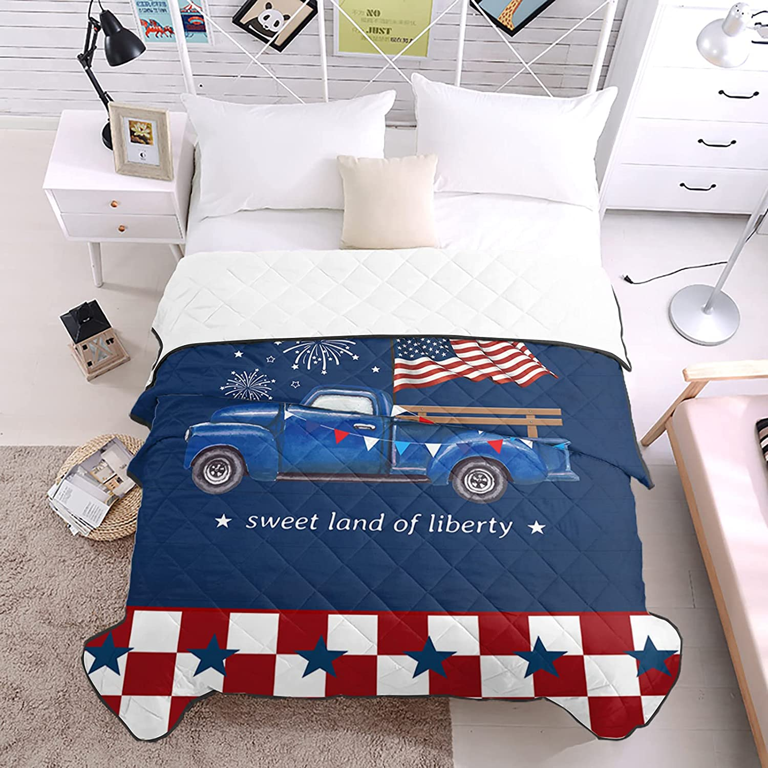 Bedding Duvets Buffalo Check Independence Flag Max 53% OFF Bl Las Vegas Mall Geometric Day