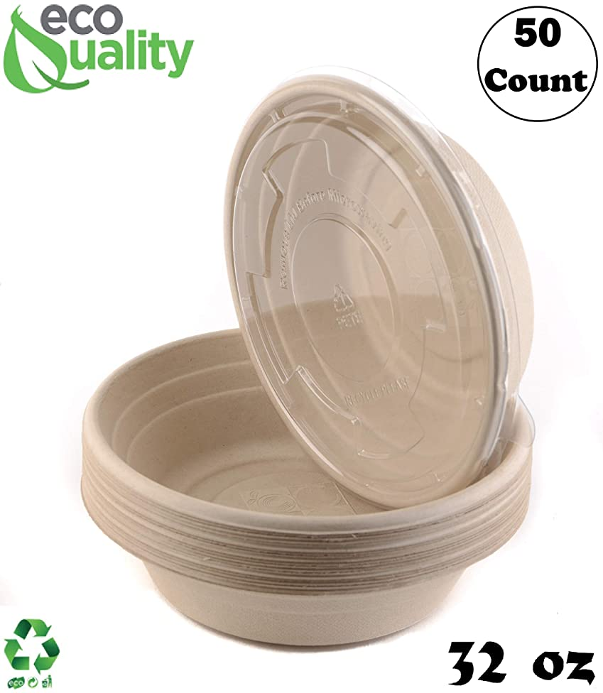 50 Count - EcoQuality 32oz Round Disposable Bowls with Lids Natural Sugarcane Bagasse Bamboo Fibers Sturdy Compostable Eco Friendly Environmental Paper Plastic Bowl Alternative Tree Free