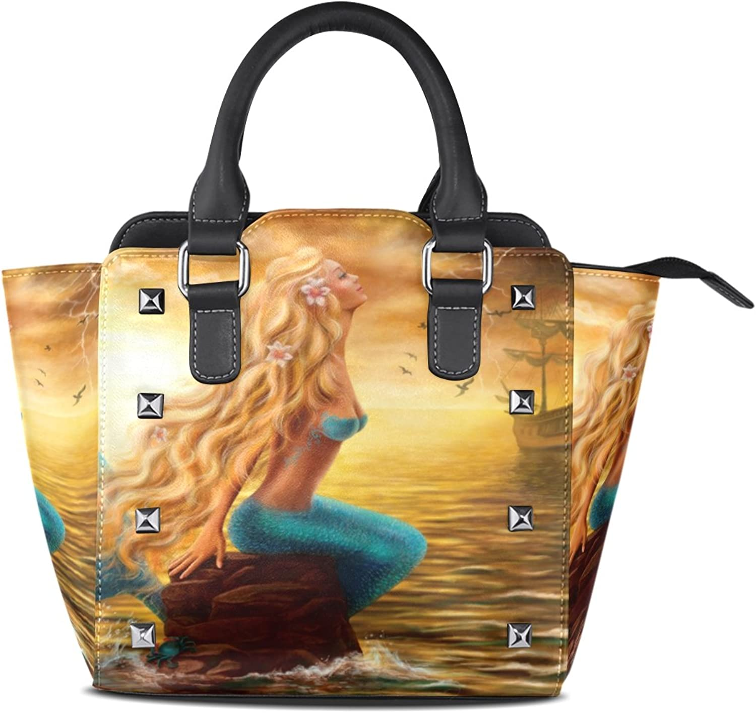 Sunlome Sea Mermaid with Ghost Ship at Sunset Print Handbags Women's PU Leather Top-Handle Shoulder Bags