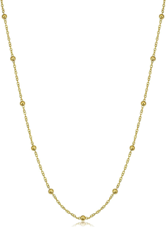 Kooljewelry 14k Yellow Gold Round Beads Station Necklace
