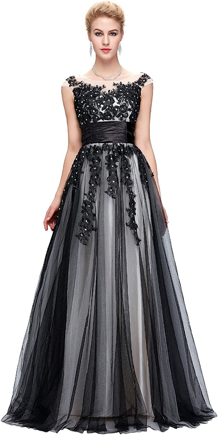 CK sky Women's Robe Sexy Lace Applique Evening Long Ball Gown Luxury Black Cap Sleeve Dress