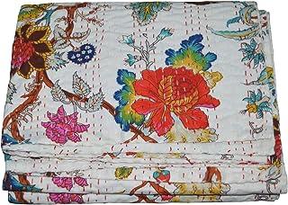 Twin 60*90 Inches algod/ón Colcha Reversible Sophia-Art con Estampado de Frutas Indias de algod/ón Puro Estilo Kantha Floral con Estampado de Frutas y Frutas Azul de Sophia-Art