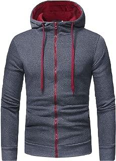 Men Classic Zipper Hood Drawstring Casual Silm Fit Tracksuit Top