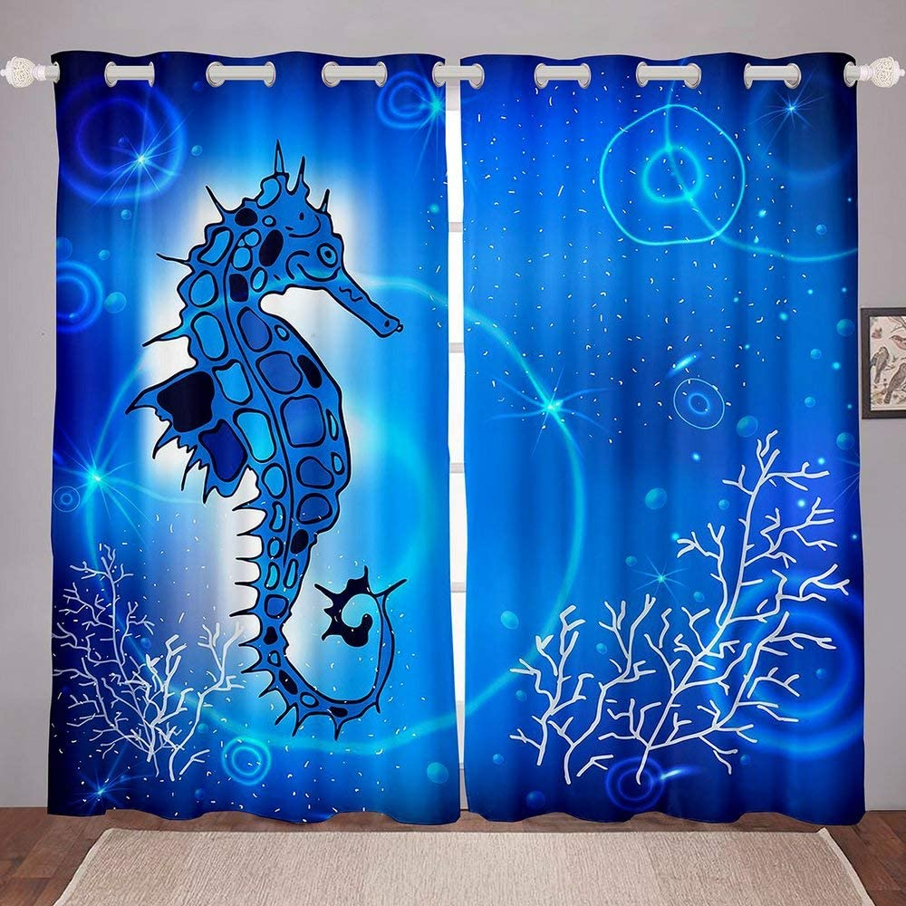 Complete Free Shipping Light Blue Seahorse Window Curtain Theme Animals Super popular specialty store Cur Room