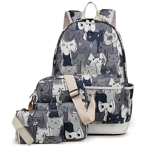 Women Cute Cat Printed Canvas Backpack School Satchel Gift Lovely Knapsack Bag J