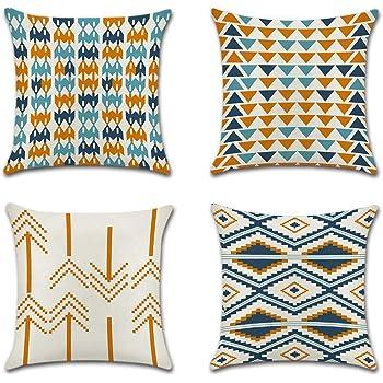 JOTOM Funda de Almohada para Cojín de Lino y Algodón para Sofa,Cama,Silla Decorativo 45 x 45 cm,Juego de 4 (Triángulo Naranja): Amazon.es: Hogar