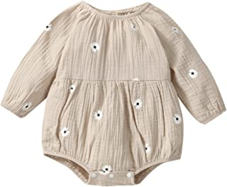 Livingsenburg Baby Girls Casual Long Sleeve Romper Flower High Round Neck Triangle Jumpsuits 0-24 Months
