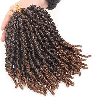 Xtrend 6 Packs Short Curly Spring Twist 8 Inch Pretwisted Bomb Twist Crochet Hair Ombre Bob Spring Braids Short Passion Twist Braiding Hair Extensions 1B/30#