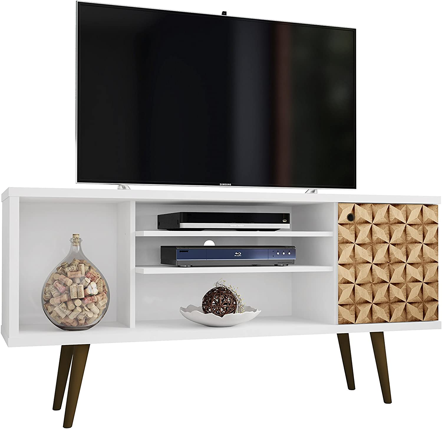 Manhattan Comfort 200AMC67 Liberty Mid-Century Modern Living Room TV Stand, Small, White 3D Print
