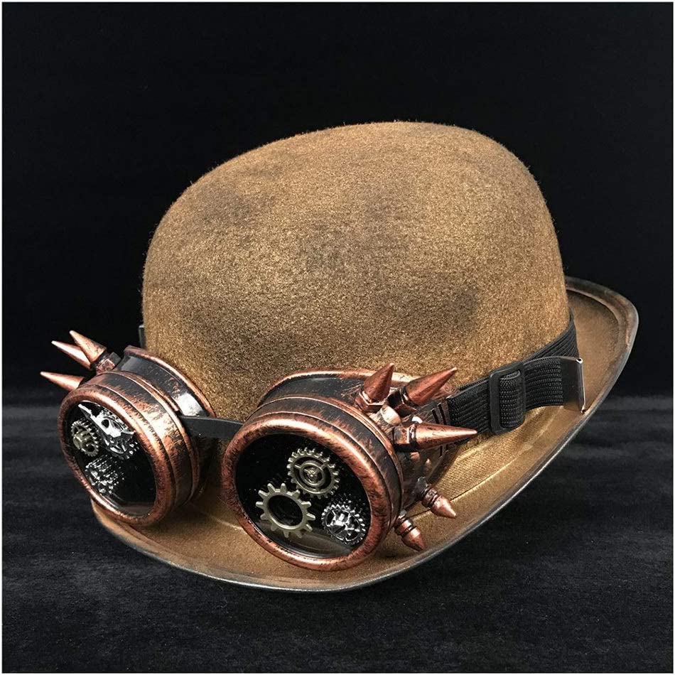no-branded Retro Lolita Women Men Unisex Steampunk Bowler Hat Glasses Topper Top Hats Fedora Billycock Groom Hat ZRZZUS (Color : Gold JD, Size : 57-58CM)