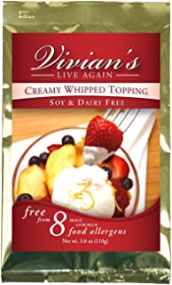 Vegan Whipped Cream Replacement, Dairy Free, Soy Free, Gluten Free, Coconut Free, Shelf Stable Mix by Vivian's Live Again - Single Packet