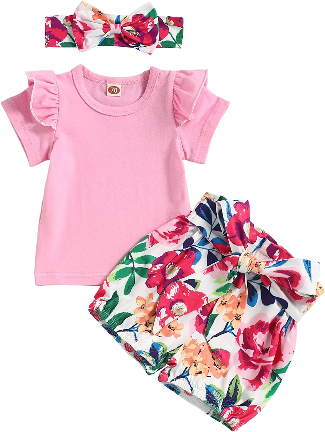 Newborn Baby Girl Summer Shorts Outfit Ruffle Sleeve Tops Floral Shorts with Headband Cute Infant Girl Clothes