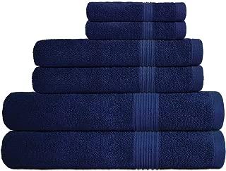 Decor Hut 6 Piece Towel Set - 100% Cotton - 550 GSM - Premium Quality Luxury Towels, Ultra Soft - 2 Bath Towels, 2 Hand Towels, 2 Wash Clothes (Blue)