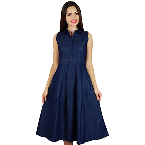 6f9ce722d8 Bimba Womens Sleeveless Pleated A-line Dress With Pockets Casual Denim  Shift Shirt Dress