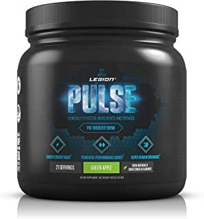 Legion Pulse Pre Workout Supplement - All Natural Nitric Oxide Preworkout Drink to Boost Energy & Endurance. Creatine Free, Naturally Sweetened & Flavored, Safe & Healthy. Green Apple, 21 Servings.