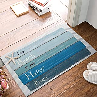SIMIGREE The Beach is My Happy Place - Blue Rustic Wood Door Mats Kitchen Floor Bath Entryway Rug Mat Absorbent Indoor Bathroom Decor Doormats Rubber Non Slip 20 x 32 Inch