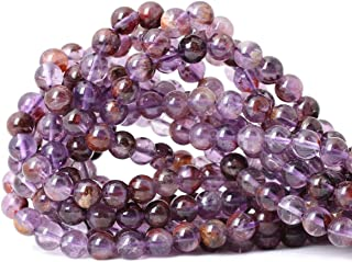 CHEAVIAN 45PCS 8mm Natural Cacoxenite Crystal Amethyst Gemstone Round Loose Beads Crystal Energy Stone Healing Power for Jewelry Making 1 Strand 15
