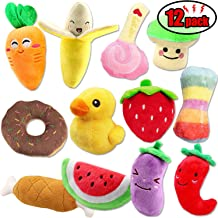 CNMGBB Squeaky Dog Toys for Small Dogs Fruits and Vegetables Cute Plush Dog Crinkle Toy Set Puppy Dog Chew Toys 12pack