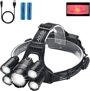 Headlamp, KJLAND 12000 Lumen Ultra Bright 5 LED Head light, USB Rechargeable Waterproof Headlight Flashlight with Zoomable...
