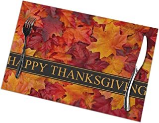 Dining Placemats Set of 6 Heat Resistant Placemats Easy to Wipe Off Place Mats Washable Table Mats Protect A Table & with A Nice Looking (Happy Thanksgiving Fall Maple)