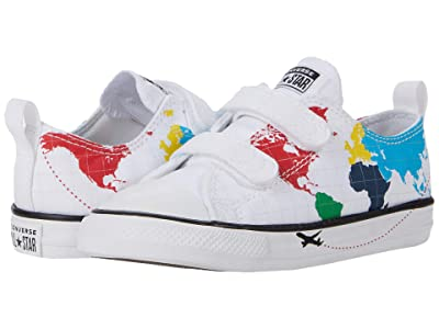 Converse Kids Chuck Taylor(r) All Star(r) 2V Worldwide Ox (Infant/Toddler) (White/University Red/Black) Boy