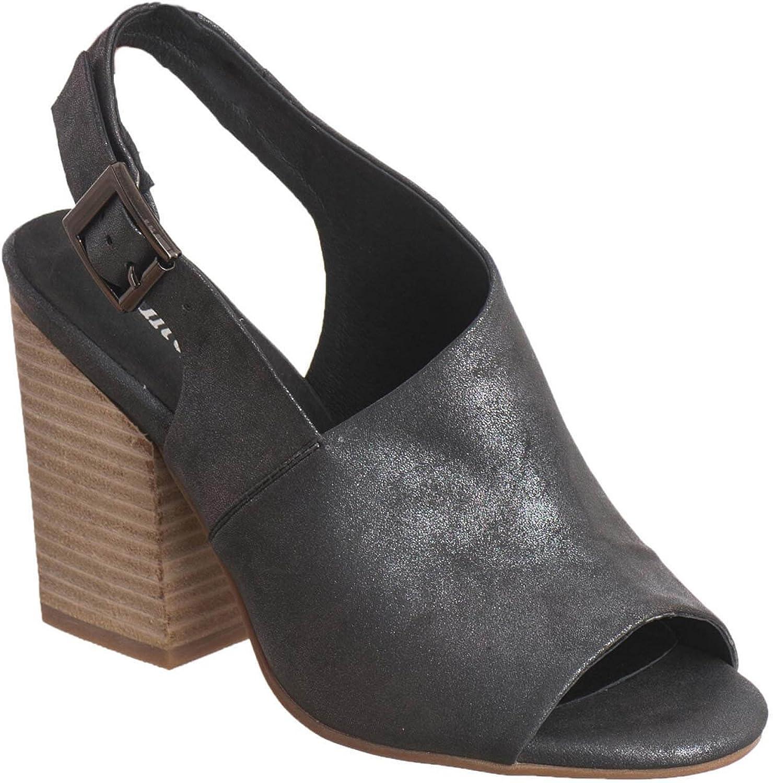 Antelope Women's 774 Black Metallic Leather Off Center High Heel Sandal