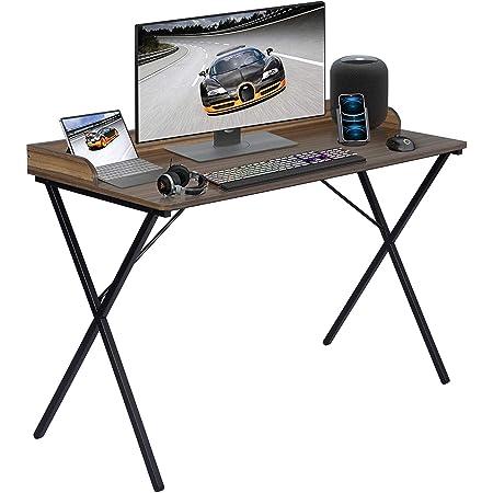 FurnitureR Escritorio Espacioso para computadora con diseño de Borde Elevado y Marco de Metal 120 * 50 * 81cm Marrón