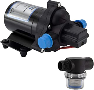 RecPro RV Water Pump | 12V Electric 3 Chamber with Pressure Switch | 45 PSI Max Draw 8.0AMP GPM/LPM 3.0/11.6 | Self Priming (with Strainer, No Silencer)