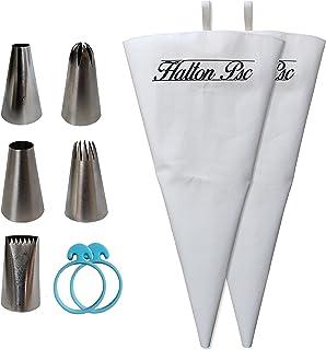 Halton PSC, Poche à Douilles pour Pâtisserie, Lot de 2 Poches à Douilles réutilisables avec 5 Douilles en Acier INOX