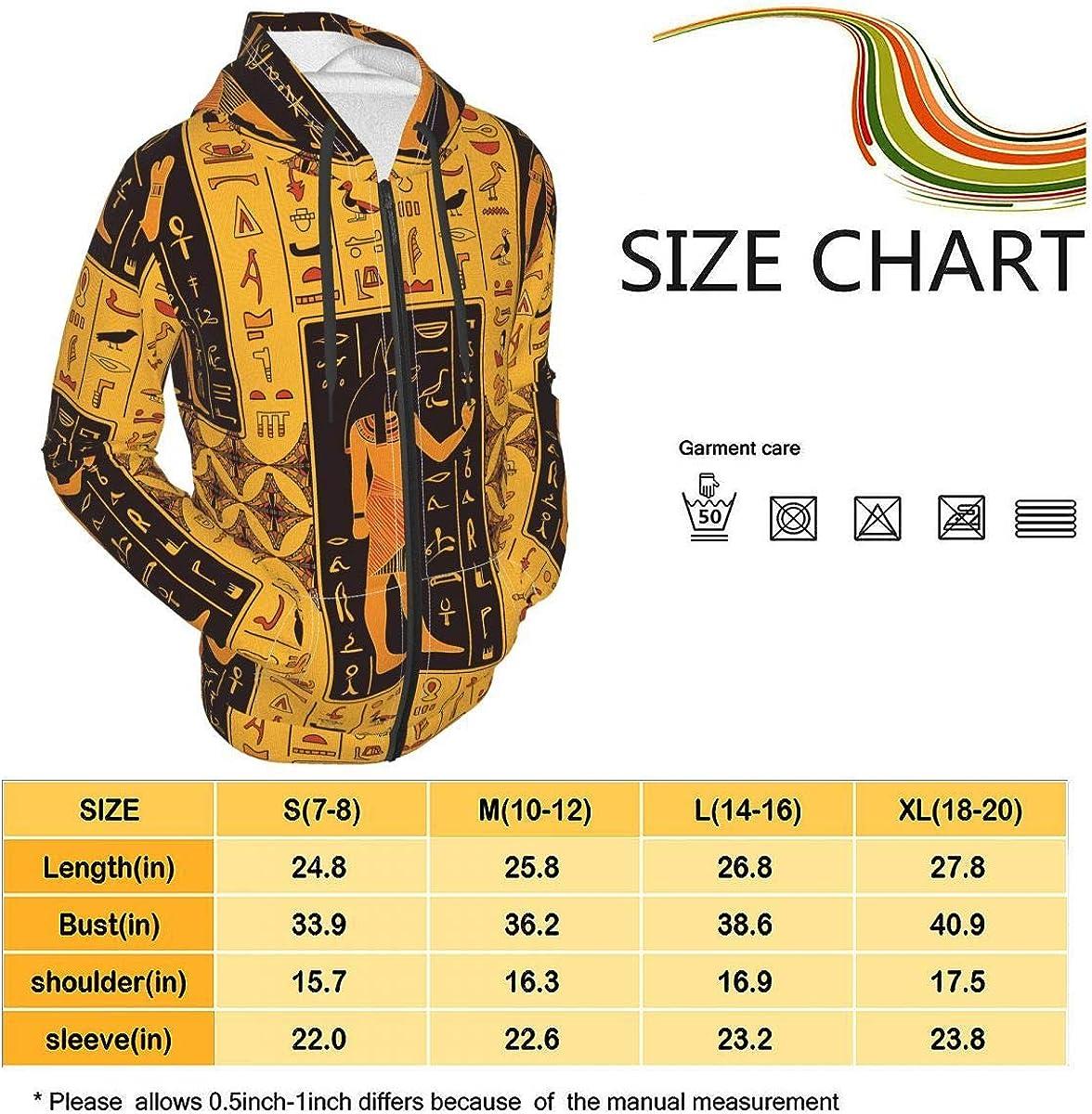 X-Peach Ancient Egyptian Hieroglyphs Kids & Youth Full-Zip Fleece Hoodie Boys Athletic Hooded Sweatshirt Jacket Pockets