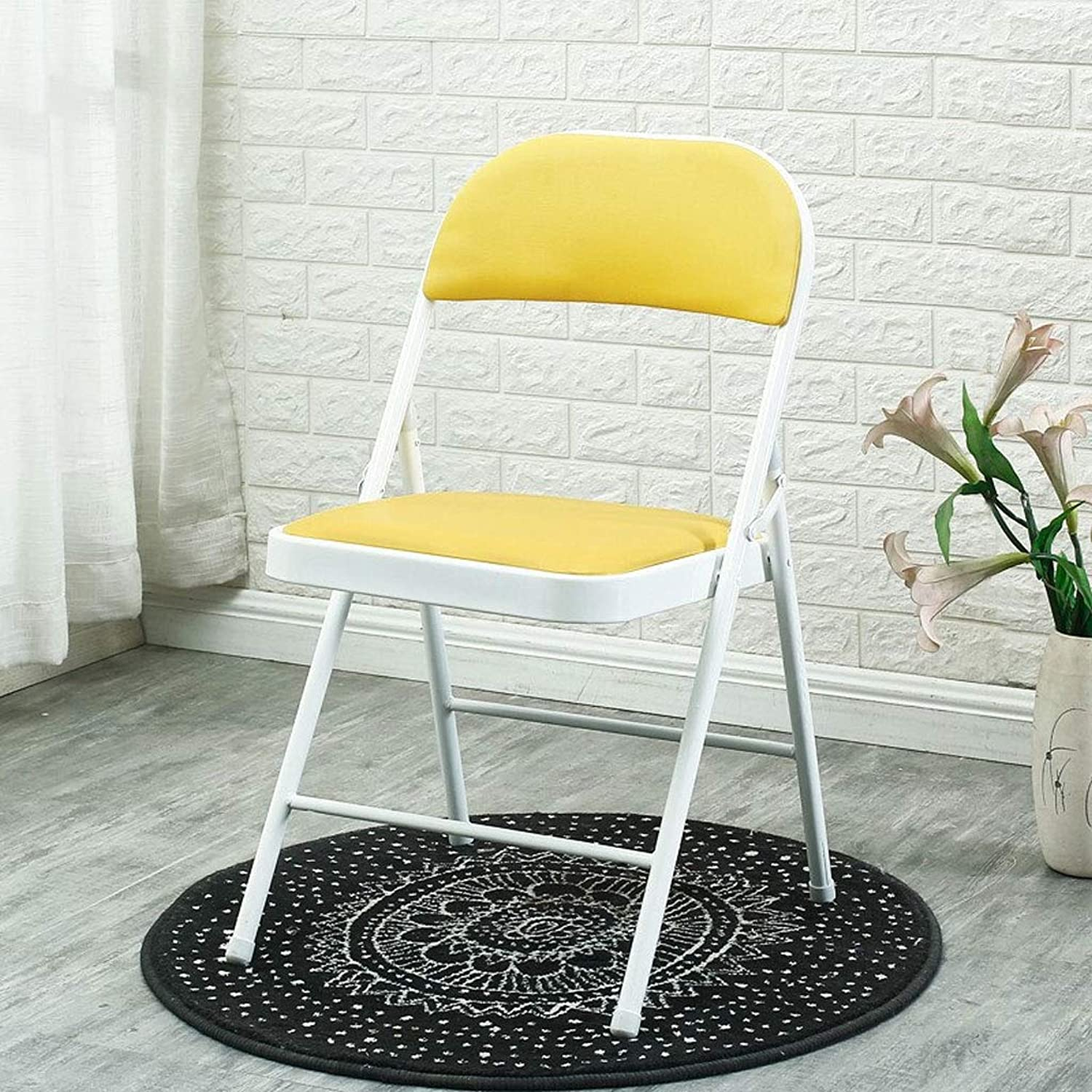 Indoor Furniture Folding Chair Faux Leather Seat & Back Rest Computer Office Ergonomic Conference Chair (color   Yellow)